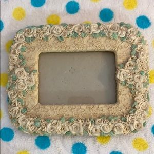 Unique cream and green rosebud trimmed photo frame